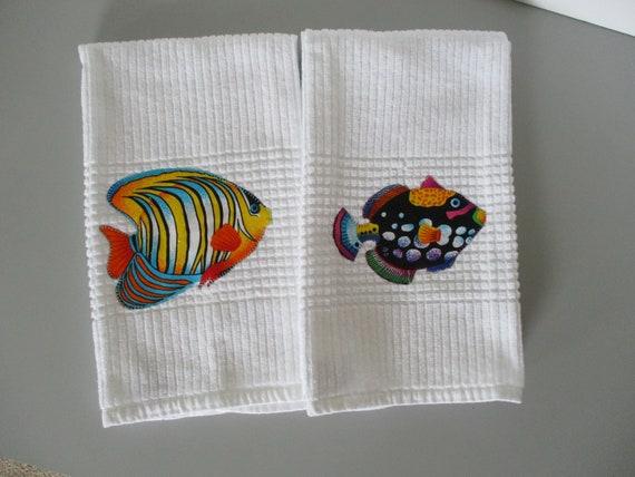 Fish Kitchen Towel Nautical Decor Decorative Kitchen Towel Etsy