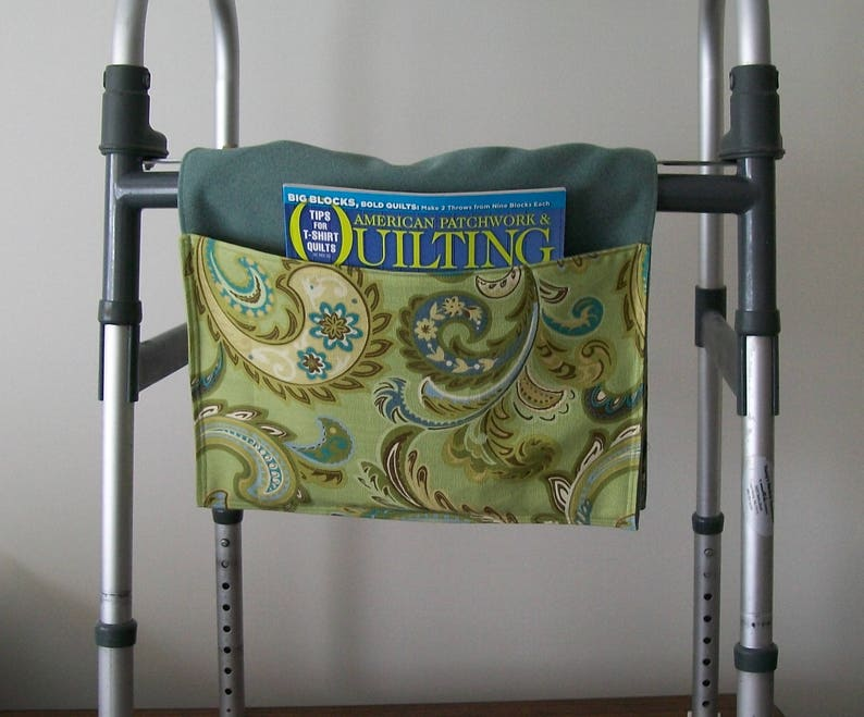 Walker Tote lime turquoise brown paisley organizer floral walker pouch senior gift wheelchair bag accessory assisted living aid