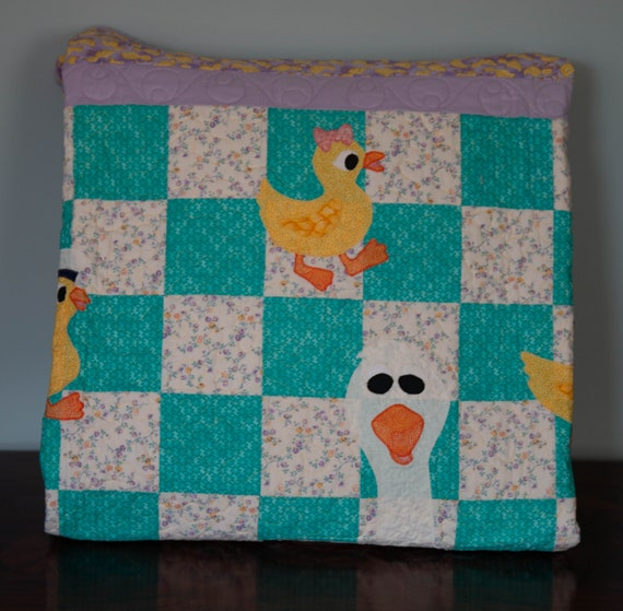 green Baby Girl Quilt Nautical Patchwork Geometric blue orange pink purple Baby Quilt