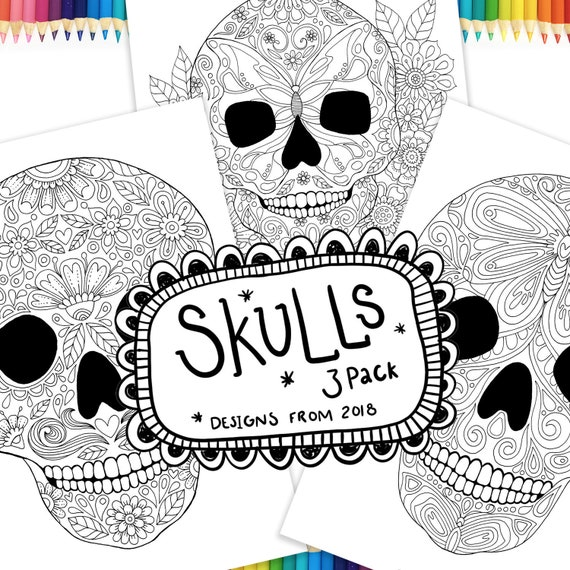Sugar Skulls Colouring - adult coloring, colouring in, coloring book, skull  coloring, mexican skulls, dia los muertos, day of the dead, love