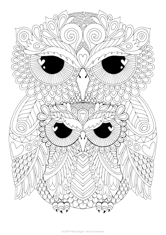Family Owls - adult coloring, colouring in, coloring pages, digital  download, coloring book, bird, floral, flowers, owl art, pattern