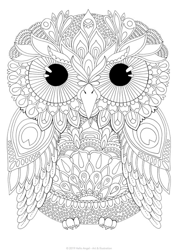 Clem Owl - adult coloring, colouring in, coloring pages, digital download,  coloring book, bird, floral, flowers, owl art, pattern