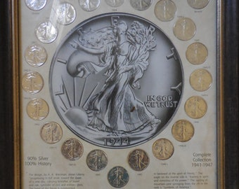 US Walking Liberty Short Set Coins 1941 to 1947 22 Coins Framed EF and VG Rated Certified