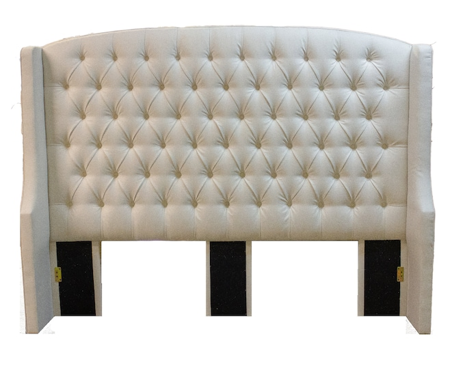 Featured listing image: Linen Step Upholstered Tufted Wing Headboard in King, Queen, Full,Custom made in USA