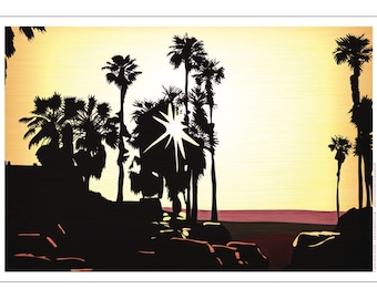 Palm Tree Setting Sun Poster