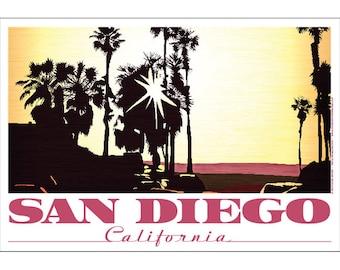 San Diego, California Setting Sun Poster