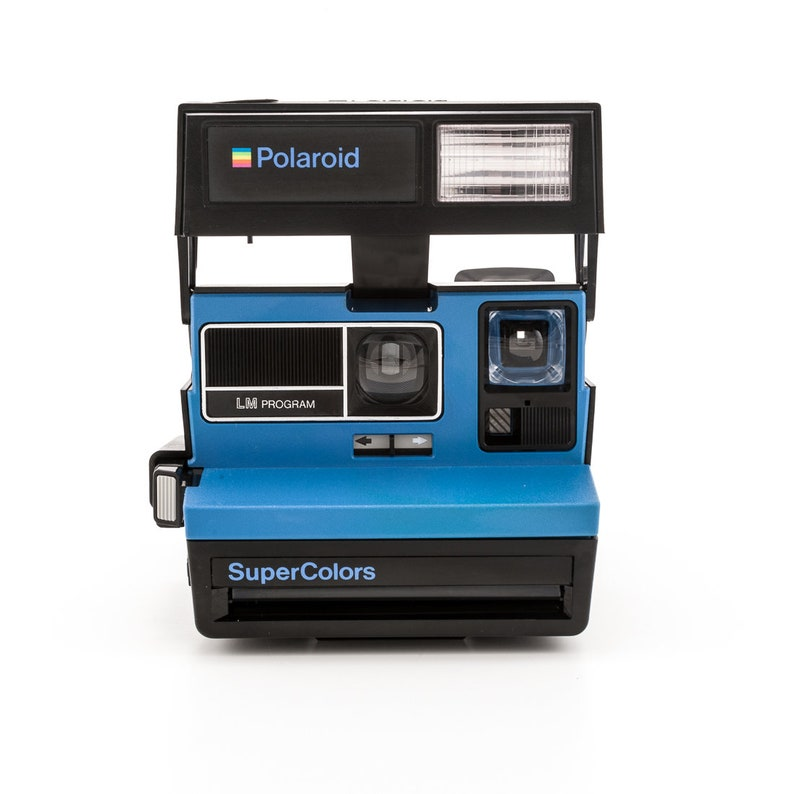 BLUE Polaroid SuperColors LM Program 600 Style Instant Camera image 0