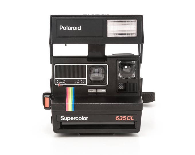 Featured listing image: Polaroid 600 Supercolor 635CL Instant Camera - Black Body Rainbow Stripe - Film Tested and Working