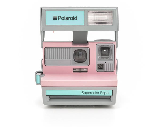 Featured listing image: Polaroid SUPERCOLOR Esprit - film Tested and Working - Rare Pink and Teal Polaroid - Made in the United Kingdom - Uses Polaroid Originals