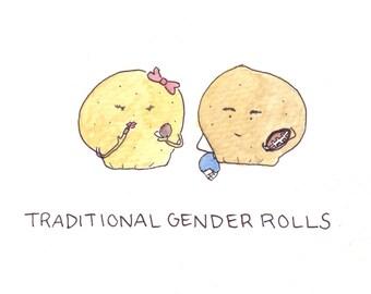Traditional Gender Rolls Greeting v.2 Card