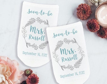 Cute Bride Socks for a Future Mrs, Soon-to-be Bride Gift, Custom Printed Cotton Wedding Day Socks, Something Blue Gift for the Bride