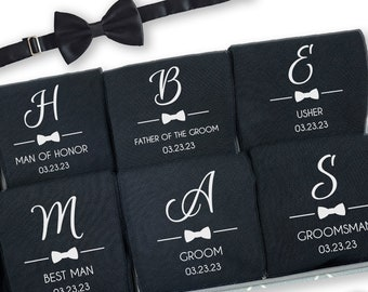 Customized Groomsmen Gifts, Groomsmen Socks , Personalized Groomsman Socks, Bow Tie Design with First Initial, Wedding Party Gifts
