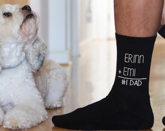 Personalized #1 Dad Math Equation Socks Custom Printed with Children or Pets Names - Father's Day Gift Idea Asst'd Socks, Sold by the Pair