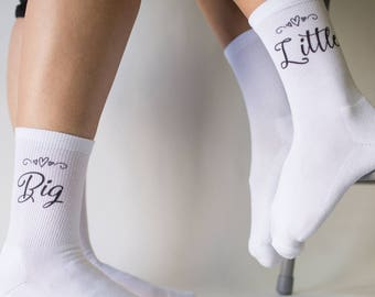 5f13e943b Big Little Sorority Socks with Stylized Text are Printed Socks for Little