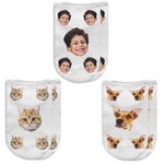 Photo Socks, Personalized, Custom Printed with Faces of Dogs, Cats and People, Fun Socks for Gift Giving Custom Dog Sock and Cat Socks