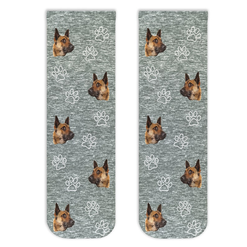 Personalized Crew Socks Printed with Your Pets Face Custom Cat and Dog Face Photos with Paw Print Design