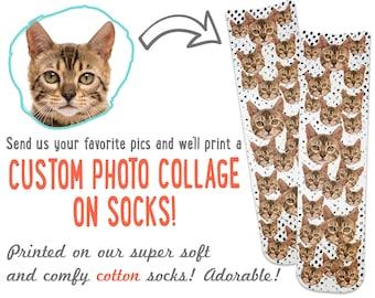 Customized Cat Face Socks, Cat Lover Gift Idea, Custom Cat Gift, Cute Personalized Custom Cat Photo Socks, Christmas Gift for Him or Her