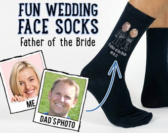 Custom Father of the Bride Gifts, Customized Face Socks for the Father of the Bride, Socks Printed with Photos, Funny Wedding Socks for Dad