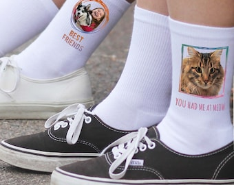 Print Your Pet on a Pair of Crew Socks - Pet Photo Socks - Custom Printed Socks With Your Pet's Photo - Personalized Dog socks