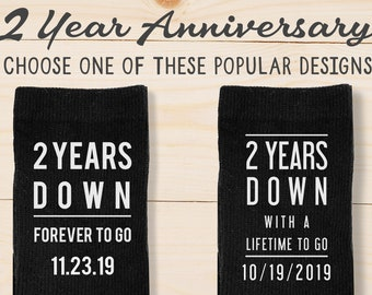 On SALE 2 Year Cotton Anniversary Personalized Socks, Custom 2nd Anniversary Gift for Husband, Gift from Wife for Husband with Wedding Date