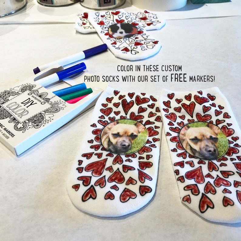 Custom Coloring Photo Socks Using Your Photos with Free Fabric image 0