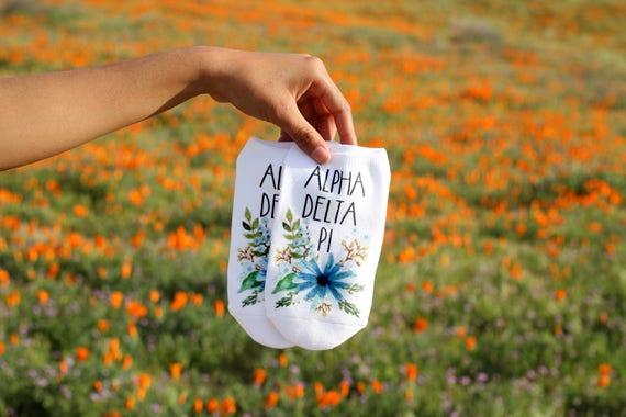Floral Printed Sorority Socks for Sorority Gifts Custom Printed with Sorority Name Alpha Delta Pi is Shown plus All NPC Sororities Available