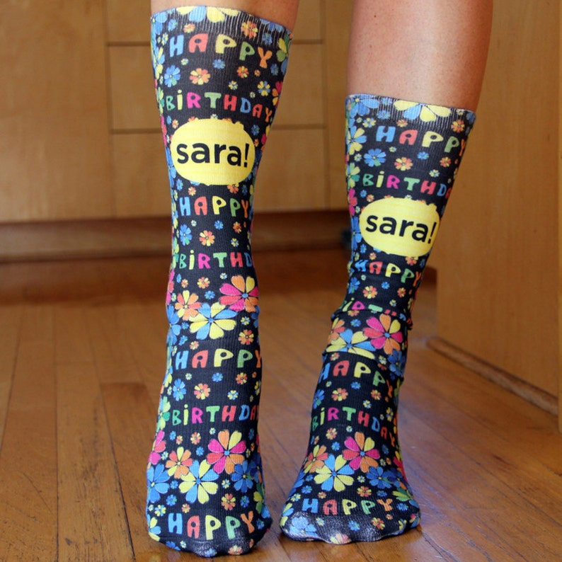 Custom Cool Socks You Design Personalized Custom Printed Socks to Add Your Own Design Unisex Adult Crew Sock Fits Most