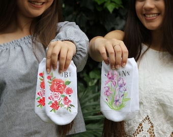 Flower of the Month Socks with Custom Monogram - Watercolor Flowers Printed on No Show Socks - Mother's Day - Gifts for Her - Monograms