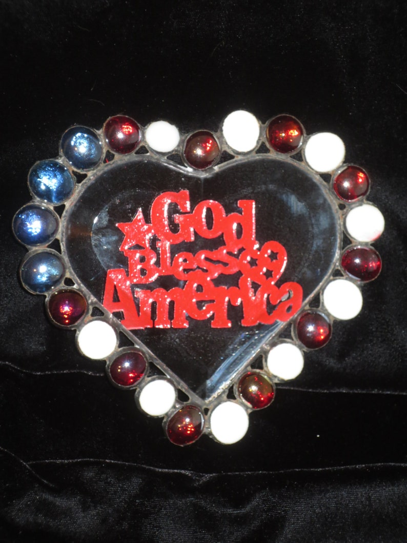 Greek Flag SUNCATCHER 0815SCM06071 Stained Glass Beveled heart with Blue and White Nuggets