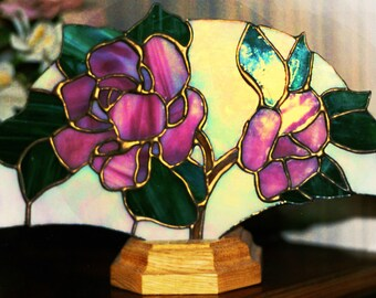 LIGHTED FANS - Stained Glass Lighted Fans - Pink Flowers - 0515TGM06129