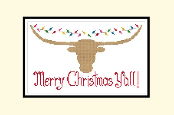 Texas Longhorn Christmas Lights Original Cross Stitch PDF Pattern Instant  Download - Texas Longhorn Christmas Lights Original Cross Stitch PDF Etsy