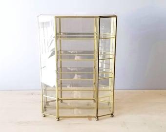 Vintage large brass and glass curio cabinet | trinket box storage shelf | 16 inch |