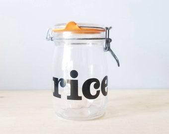 Mid century modern storage jar | rice jar | typography | kitchen storage