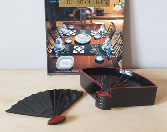 Vintage Otagiri lacquered fan plates / coasters | set of 6 coasters |