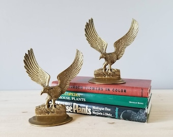 Vintage brass eagle bookends | office decor Father's Day gift |