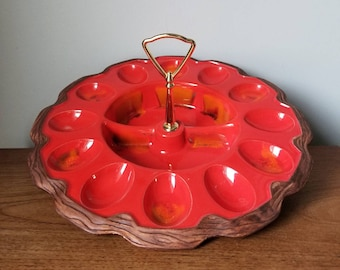Deviled egg plate | deviled egg platter | egg plate vintage | egg tray | Sequoia ware | bisque | serving | dinner party |