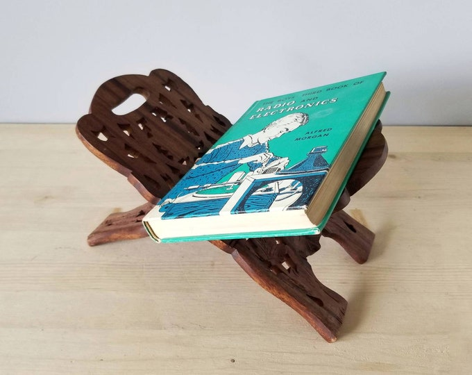 Featured listing image: Vintage carved wood book stand | hand carved folding book holder | bible stand |