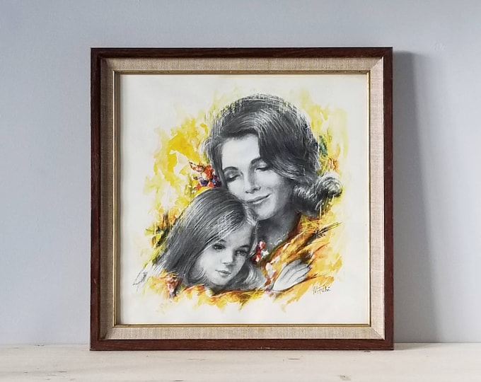Vintage art print of mother and daughter | nursery decor | gift for mom |