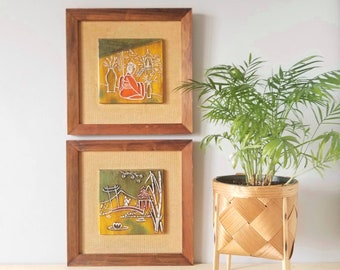 Vintage pair of handpainted tiles | Asian design painted on ceramic tile and framed |