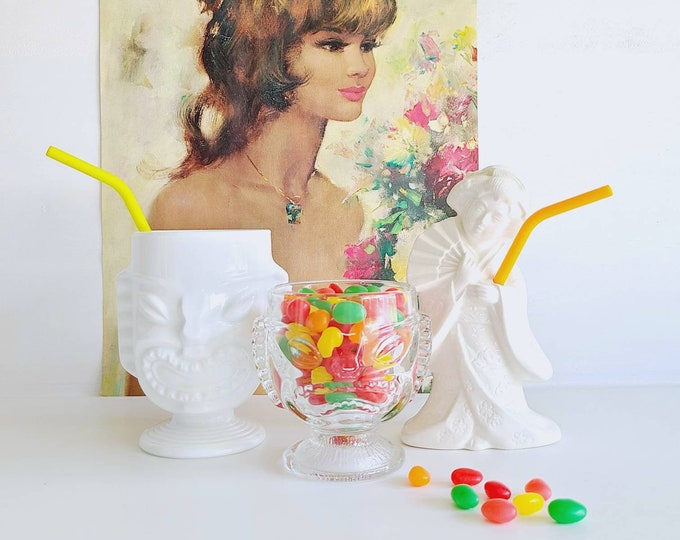 Vintage tiki mug in milk glass | tiki cup | goblet | vase |Bohemian decor | Kitschy decor |