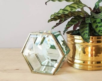 Vintage glass and brass trinket box | etched glass jewellery box |