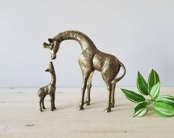 Vintage brass giraffe mom and baby | brass animal figurine statues |