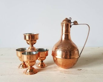 Copper coffee tea carafe with cups | espresso Turkish coffee |