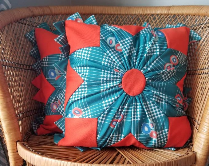 Vintage pair of retro cushion covers | decor pillows geometric design |