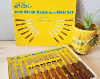 Vintage knife and fork set in original packaging made in Japan | stainless steel cutlery 12 piece set |
