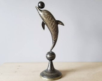 Vintage etched brass dolphin statue   large dolphin figurine  