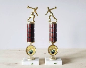 Vintage bowling trophy pair | retro sports memorabilia | photography props |