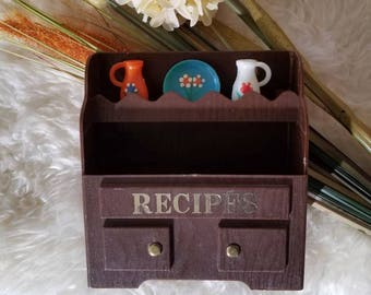 Vintage recipe box | recipe cards | recipe card box | recipe organiser | Retro kitchen | Orange  brown | Kitschy | Bohemian | Mid century |