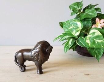Vintage cast iron lion bank | A.C. William's antique piggy bank |
