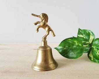 Vintage brass unicorn bell   fantasy decor  